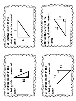 Pythagorean Theorem Task Card Review - 8.G.7