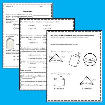 Volume of Cylinders, Cones, & Spheres Exam - 8.G.9 {EDITABLE}