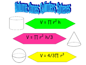 8.G.C.9 Volume of Spheres, Cylinders and Cones