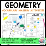 Geometry Vocabulary Activities for Class Discussion and As