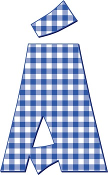 "8 Gingham Alphabets - Digital Stamp, 300 DPI, 5"" High, 8-66 Page PDFs - 528 PNGs"