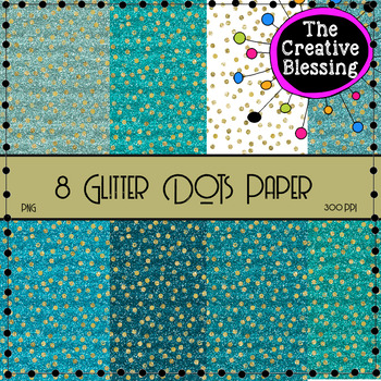 8  Teal Glitter Digital Papers