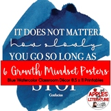 8 Growth Mindset Posters Blue Watercolor