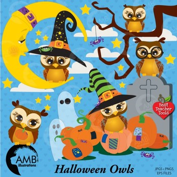 Halloween Clipart Owls Clipart with Moon, Tombstone and Pumpkin Clipart, AMB-265