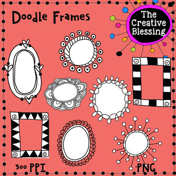 8 Hand Drawn Doodle Frames Clip Art Graphics  PNG