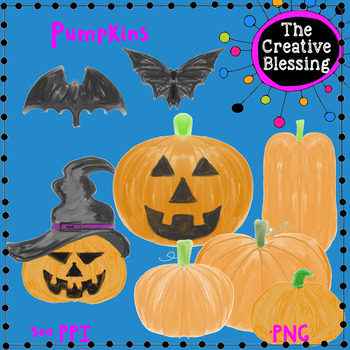 8 Hand Drawn Halloween Pumpkins and Bats Clip Art ( The Creative Blessing)