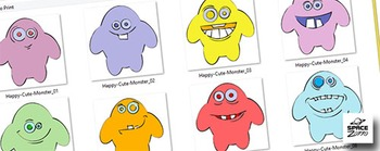 8 Happy Cute Monsters ( images SET 1 )