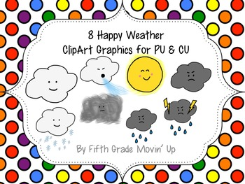 8 Happy Little Weather Clip Art Graphics