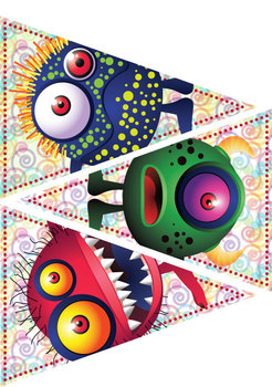 "8 Happy Monsters – Pennants – 7"" & 2"" Circles – Clip Art – Classroom Printables"