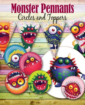 "8 Happy Monsters – Pennants – 7"" & 2"" Circles – Clip Art –"