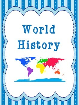 8 History Subjects Binder Covers and Side Labels. KDG-High School. Homeschool.