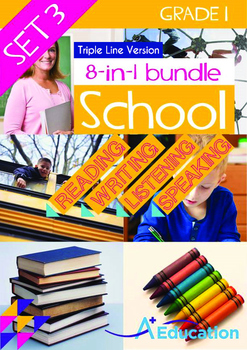8-IN-1 BUNDLE - School (Set 3) Grade 1 (with 'Triple-Track Writing Lines')