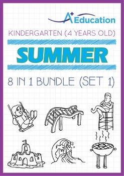8-IN-1 BUNDLE - Summer Fun (Set 1) - Kindergarten, K2 (4 years old)