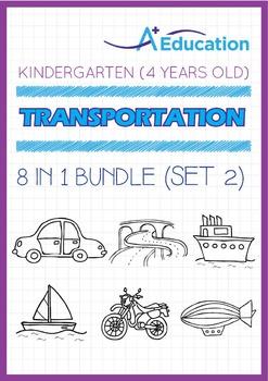 8-IN-1 BUNDLE - Transportation (Set 2) - Kindergarten, K2 (4 years old)