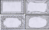 8 Index cards with hand drawn borders that can be colored.