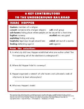 Underground Railroad: 8 Key Contributors: Webquest (20 p., Ans. Keys, $5)
