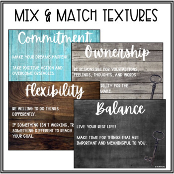 8 Keys of Excellence Posters & Focus Cards (Farmhouse/Shabby Chic Decor)