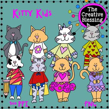 8 Kitty Kids  Hand Drawn Clip Art Graphics