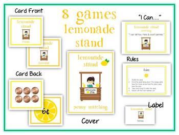 8 Lemonade Stand Money Matching Games - Coin Math Folder Games