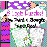 8 Logic Puzzles For Print or Paperless Using Google Classroom! Critical Thinking