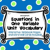 8 Math Vocabulary: EQUATIONS IN ONE VARIABLE (Word Wall an