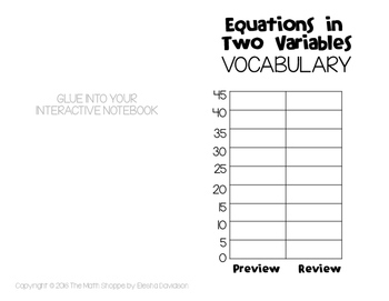 8 Math Vocabulary: EQUATIONS IN TWO VARIABLES (Word Wall and INB Pages)