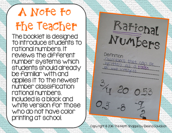 8 Math: Rational Numbers Foldable/Graphic Organizer