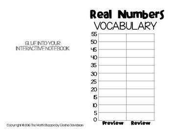 8 Math Vocabulary: REAL NUMERS (Word Wall and Interactive Notebook Pages)