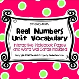8 Math Vocabulary: REAL NUMBERS (Word Wall and Interactive