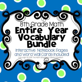8th Grade Math Vocabulary BUNDLE: Word Wall and Interactive Notebook Pages