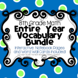 8th Grade Math Vocabulary BUNDLE: Word Wall and Interactiv