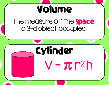 8 Math Vocabulary: VOLUME AND SURFACE AREA (Word Wall and INB Pages)
