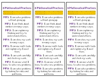 8 Mathematical Practice Bookmarks (Kid Friendly)