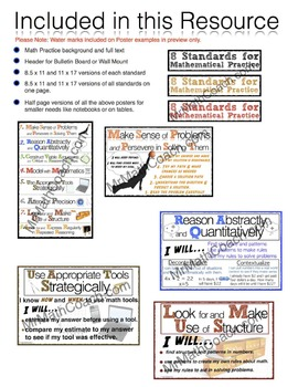 8 Mathematical Practice Poster Classroom Set -- Math Practice Posters