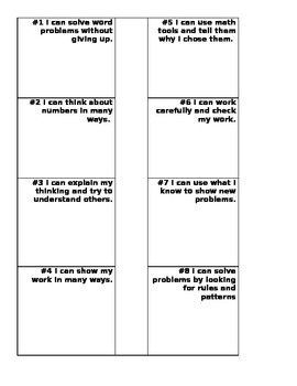 "8 Mathematical Practices ""I Can"" Statements Flip Book"