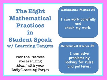8 Mathematical Practices- In student talk