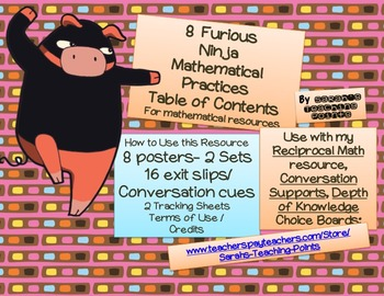 8 Ninja Mathematical Practices --Posters and Exit Slips to Help Growth Mindset!