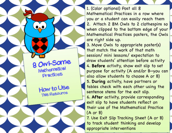 8 Owl Mathematical Practices --Posters and Exit Slips to Help Growth Mindset!