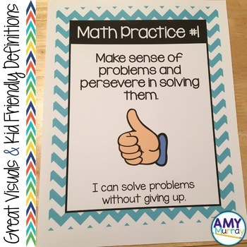 8 Mathematical Practices Posters for Young Learners in blue chevron