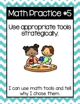 Math Practices Posters for Young Learners in blue chevron