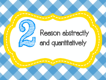 8 Mathematical Practices Yellow and Blue Gingham (Common Core)