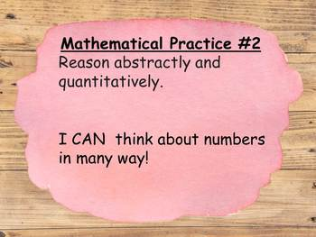 8 Mathematical Practices with child friendly I can statements