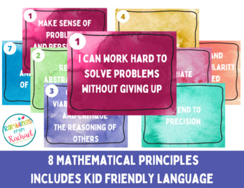 8 Mathematical Principles/ Practice Chalkboard & Chevron w Kid Friendly Langauge