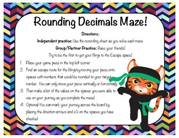8 Mazes! Rounding Decimals to Whole Number, Tenths, Hundredths & Thousandths