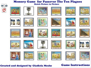 8 Memory Game for Passover The Ten Plagues photo to photo Englishe
