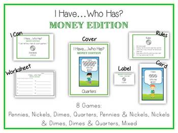 8 Money Folder Games - I Have ... Who Has Coin Center Games