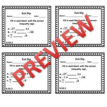8th Grade Math Exit Slips/Exit Tickets Number System