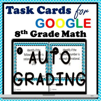 8.NS.1 Digital Task Cards, Rational & Irrational Numbers Google Task Cards