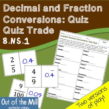 8.NS.1 Decimal and Fractions Conversions: Quiz Quiz Trade