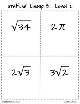 8.NS.2 Irrational Lineups